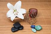 Spa Composition - Basalt Stones To Massage Of Hot, And Aromatherapy