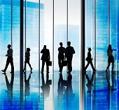 Silhouette Group of Business People Urban Scene Concept