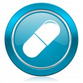 drugs blue icon medical sign