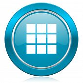 thumbnails grid blue icon gallery sign