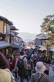 Crowded of Tourist walking to Kiyomizu-Dera temple