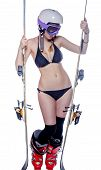 image of ski boots  - Freeride naked girl is posing with ski isolated on white - JPG