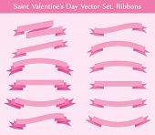 vector collection: red ribbons
