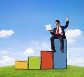Successful Businessman Achievement Financial Improvement Success Concept