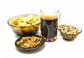 Different Snacks And Dark Beer
