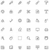 Set of the simple graphic design related glyphs