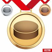 Gold Medal with the symbol of puck ice hockey inside