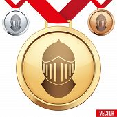 stock photo of gold medal  - Three Medals with the symbol of a knight inside - JPG