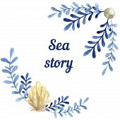Hand drawn watercolor sea story card. With water plant and shell. Blue natural colors