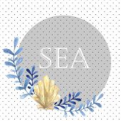 Hand drawn watercolor sea card. With water plant and shell. Blue natural colors