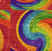 Rainbow Wave Mosaic Paint Burlap Rustic Jute Background