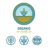 Vector Agriculture And Organic Farm Line Logos