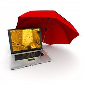 3D rendering of a laptop with bitcoins on the screen, protected by an umbrella