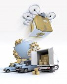 3D rendering of the Earth surrounded by cardboard boxes, a loading truck with flying drone with a package attached