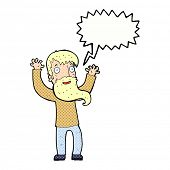 cartoon excited man with beard with speech bubble