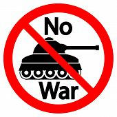 picture of panzer  - No war sign on white background - JPG