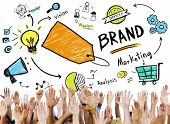 Diverse People Hand Raised Marketing Brand Concept