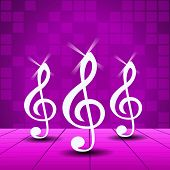 Purple Party Background With Treble Clef.