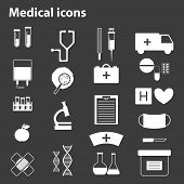 Set of black-white medical icons