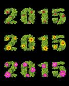 Date 2015 Is Lined With Green Leaves Berries And Flowers