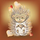 Valentine's Day Card With A Hedgehog.1