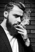 Beard Man Smoking.