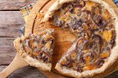 Sliced Onion Pie With Cheese Horizontal Top View