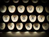 image of typewriter  - Story concept on old fashioned typewriter keyboard - JPG