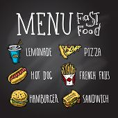 picture of hamburger  - Fast food menu chalkboard decorative icons set with lemonade hot dog hamburger pizza french fries hamburger and sandwich isolated vector illustration - JPG