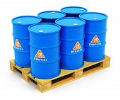 Barrels with biofuel on shipping pallet