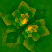 Green concentric mandala flower. Kaleidoscopic abstract background. Geometric art. Surreal artistic.