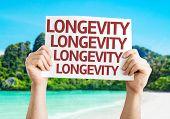 Longevity card with a beach on background
