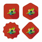 Crocodile Toy Flat Icon With Long Shadow,