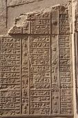 Egypt Calendar Hieroglyphics on Vertical Wall