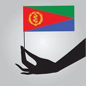 Hand With Flag Eritrea