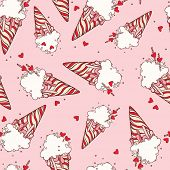 Seamless pattern with ice cream cones. Colorful pop art.