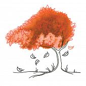 Vector watercolor and ink drawing of autumn tree.Concept of season.
