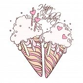 Valentines Day card with two ice cream cones in pop art style.
