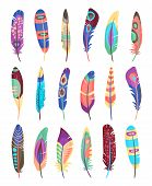 stock photo of feathers  - Vector colored feathers set - JPG
