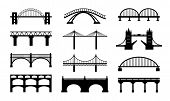 foto of bridges  - Vector bridges silhouettes icons - JPG