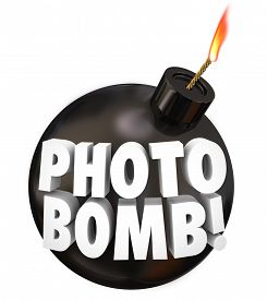 stock photo of prank  - Photobomb words on a black round bomb to illustrate intruding uninvited in other people - JPG