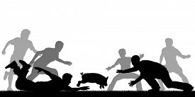 image of grease  - Illustration of people trying to catch a slippery greased piglet - JPG