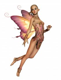 picture of fairies  - 3d computer graphics of a hovering fairy with braided blond hair and butterfly wings on a white background - JPG