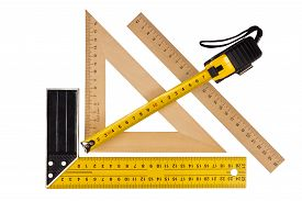 pic of measurement  - Metallic tool to measure right angle triangle and wooden ruler pencil and tape measure on a white background - JPG