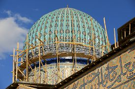 pic of sufi  - Dome of the beautiful medieval mausoleum of the famous 12th century poet and sufi Khoja Ahmed Yasavi in scaffolding in Turkistan - JPG