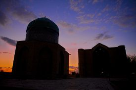 image of sufi  - Exterior of the beautiful medieval mausoleum of the famous 12th century poet and sufi Khoja Ahmed Yasavi  at sunset in Turkistan - JPG