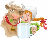 picture of cow  - Girl hugging a cow and a farmer holding a cup of milk - JPG