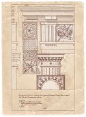 picture of architecture  - Vintage sheet of manuscript  - JPG