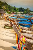 pic of phi phi  - Thai traditional boats on Phi - JPG