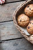 pic of baked raisin cookies  - Cookies in a basket - JPG